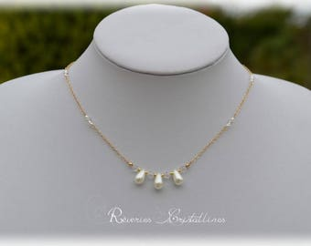 Crystal drops and Crystal bridal necklace, gold - wedding, bridal necklace, necklace, nacreous pearl drop jewelry