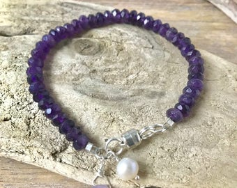 Faceted Amethyst Sterling Silver Bracelet, Dainty and Delicate,Wire Wrapped Jewelry,Genuine Amethyst, Stocking Stuffer, Ideas for Girlfriend