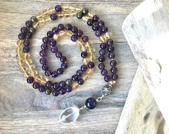 Citrine and Amethyst Mala Beads Necklace No Tassel  / Amethyst Japa Mala Beads / Amethyst Knotted Necklace / Meditation Beads /Yoga Necklace