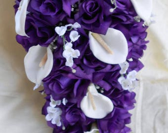 17 pieces Royal purple and white cascade bouquet callas and roses
