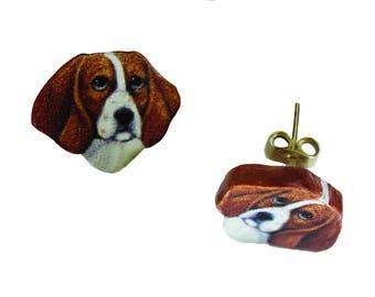 Beagle Earrings : Small Post