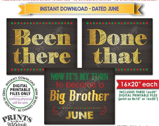 Been There Done That Pregnancy Announcement My Turn to be a Big Brother in JUNE, Christmas Theme Instant Download Printable Pregnancy Signs