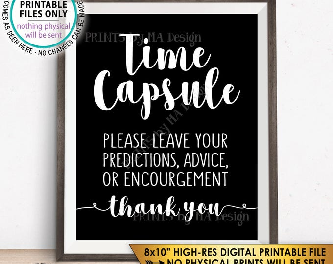 """Time Capsule, Wedding Guest Book Alternative, Baby Shower Time Capsule Sign, Bridal Shower, Predictions, Wishes, 8x10"""" Printable Sign <ID>"""