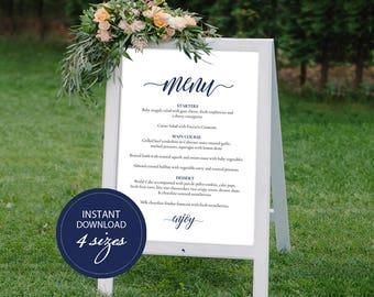 Editable PDF Wedding Menu Sign Navy Blue Wedding Menu Board Calligraphic Wedding Menu Poster Instant download DIY Printable Sign #DP120_20