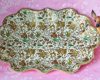 Gold Floral Bird Chintz Paper Mache Serving Vanity Tray Made in Japan: Mid Century Retro Japanese Tole Hollywood Regency