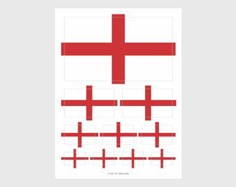 England Flag Weatherproof Sticker Sheet / 10 Flag Stickers Various Sizes