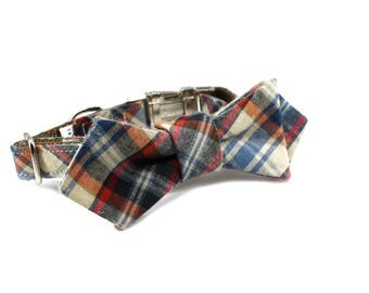 Luxury Dog or Cat Bow Tie - The CROSBY // Contemporary (multi plaid print)