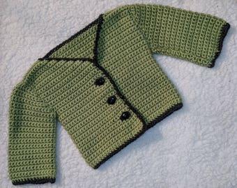9-12 mo. Crochet Baby Sweater Sage and Dark Grey