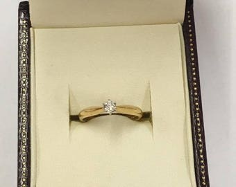 Vintage 18ct Yellow Gold Solitaire Diamond Engagement Ring Size L