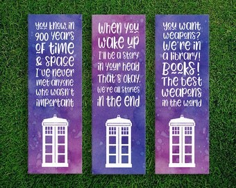 Long Bookmark | Tenth Doctor David Tennant Quote Eleventh Doctor Matt Smith Quote Watercolor Bookmarks Pack of 3 Doctor Who Tardis Bookmarks