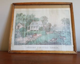 Vintage Currier & Ives Lithograph, American Homestead Summer, Early Americana Print