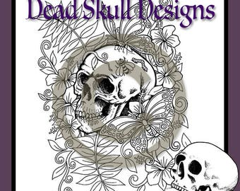Butterfly and Hibiscus Skull - Colouring Page, Coloring Page, Digital Stamp, Dead Skull Designs