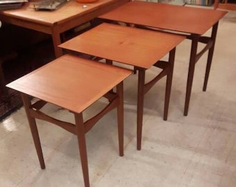 Danish Teak Nesting Tables by Fabian , mid century modern , designer furniture
