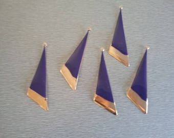 2 beautiful blue and gold enamel pendants