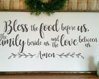 SVG Bless the food before us / Love between us / Farmhouse style SVG / Farmhouse dining room sign / Bless the food print / png eps