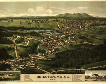 Bridgton ME Panoramic Map dated 1878. This print is a wonderful wall decoration for Den, Office, Man Cave or any wall.