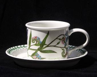 Portmeirion Botanic Garden Forget Me Not (Myosotis Palustris)  Tea Cup and Saucer | Excellent