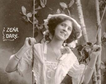 Zena Dare | Actress | Studio Portrait | Edwardian Theatre | Antique Postcard | Circulated | Davidson | Real Photograph | 1908