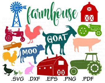 On the Farm & Urban Farming Design Files, Backyard Farm Use With Silhouette Software, Cricut File, DXF File, EPS File, Farm Animal - CA437