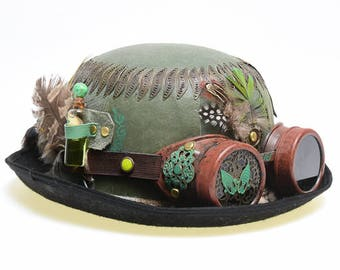 "Steampunk bowler ""Explorer"" with brown goggles"