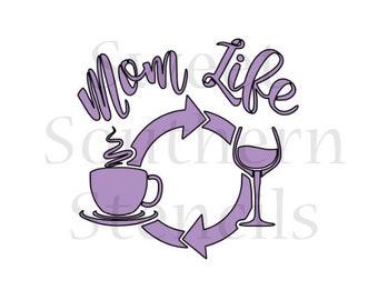 Mom Life Cookie Stencil
