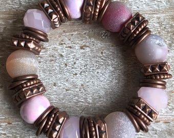 Pink & Copper Beaded Bracelet