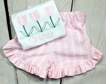 Girls Floral Monogram Shirt- Toddler Girls- Tulip Flower Monogram Shirt- Baby Girl- Spring Floral- Short Set-6m, 12m, 18m, 2t, 3t, 4t, 5t, 6