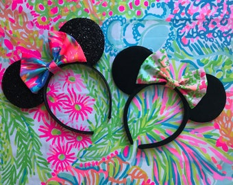 CUSTOM Fabric and Color Bow Preppy Minnie Park Disney Ears Lilly Fabric plush or Sparkly
