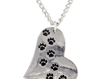 Cat Dog Paw Print Heart Necklace  Earring Set Ideal Gift For Cat -Dog or Animal Lover- Made and Design in UK