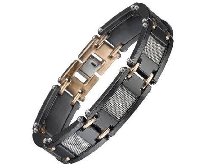 Black Ceramic Bracelet with Rose Gold with Stainless Steel inlay Unisex Men