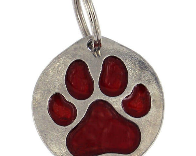 Personalised Dog Tag Large enamelled red paw print dog tag- Made and Design in UK