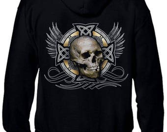 HOODIE zipped _ adult - mixed - Gothic skull