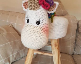Unicorn kids stool with golden horn and hooves. Made to order