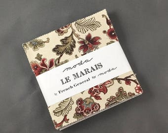 """HUGE SUMMER SALE Le Marais 5"""" Charm Pack by French General for Moda Fabrics ~ 42 Cotton 5""""x5"""" PreCut Quilt Squares"""