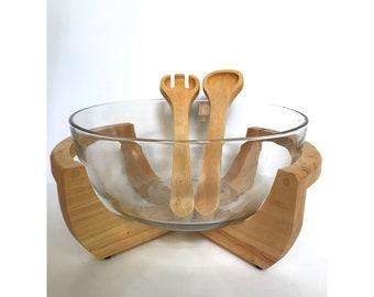 Vintage Salad Bowl -- Mid Century Decor -- Mid Century Bowl -- Salad Bowl -- Monkey Wood Salad Bowl --Serving Bowl on Wood Stand --