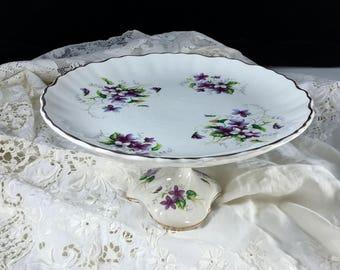 Cake Stand, Staffordshire England, Vintage James Kent, Old Foley, Hand Painted, Violets, Antique Cake Stand, Porcelain Cake Stand