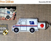 mail truck carrier key fob AND snap tab design sew pes dst exp and more. Instant Download! bean stitch, monogram.