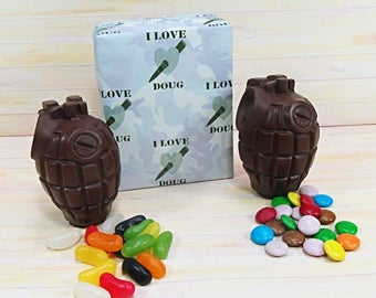 Valentines Chocolate, two milk chocolate grenades filled with jelly beans and 'smarties'