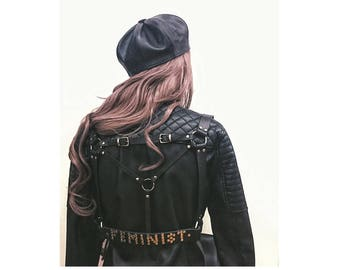 Feminist chest harness Black body harness Body belt Future is female Harness belt Unisex harness Studded belt harness