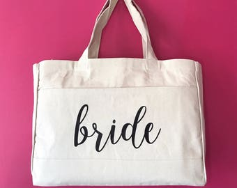 Bride Tote Bag Bridesmaid Maid of Honor Beach Bag Bachelorette | Bridal Party