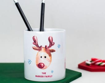 ON SALE Personalised Christmas Desk Tidy - gift for family, christmas gift, office gift