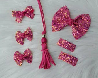 Sparkle Me in Pink Collection ~ Flutter Bow ~ Pigtail Bows ~ Piggies ~ Clippies ~ Suede Tie ~ Necklace ~ Baby Headbands ~ Girls Hair ~