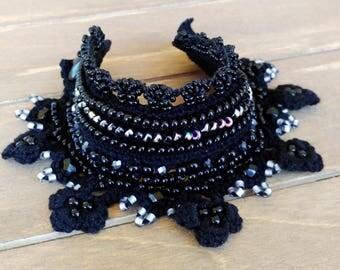 Crochet Cuff Bracelet, Crochet Jewelry in Black with Beads,  Freeform Crochet Bracelet, Delicate Bracelet Cuff - Unique Gift for Her