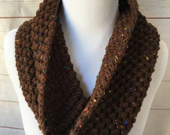 gifts for her - brown tweed Crochet cowl scarf - chunky cowl - crocheted scarf - winter scarf - thick scarf  - christmas gift for her