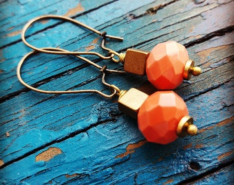 Coral And brass Earrings