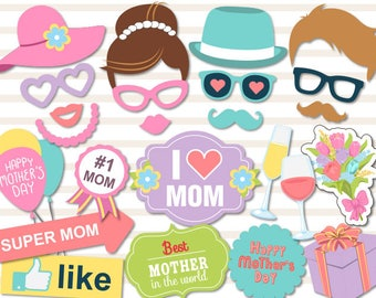 Printable Mother's Day Photo Booth Props, Love Mum Party Photo Booth Props, Happy Mother's Day Party Photo Booth Props, Best Mum Props 0180