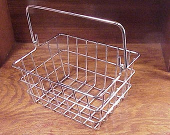 Vintage Chrome Heavy Duty Wire Tote Rectangular Shaped Basket with Folding Handle