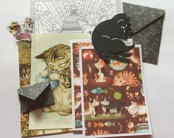 Cat snail mail kit, cat craft kit, paper pack, cat emphemera, cat stationery, pen pal, cat cards, letter writing