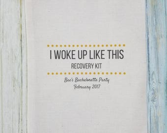 10 Bachelorette Party Favor, Hangover Kit, Survival Kit, Recovery Kit, Emergency Kit , Custom Bachelorette Party Bags - Woke Up Like This