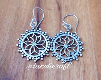 New! mandala earrings.  Mandala flower earrings. Brass earrings. Ethnic earrings. India earrings. Sacred geometry earrings